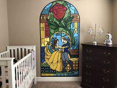 Ideas Baby Room Disney Theme The Beast Disney Themed Bedrooms, Disney Baby Rooms, Disney Themed Nursery, Disney House, Princess Nursery Theme, Princess Mural, Baby Girl Nursery Themes, Beauty And The Beast Bedroom, Disney Wall Murals