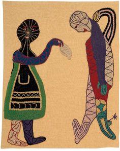 La cueca.  1962.  119,5 x 94,5cm  Lino y bordados en lanigrafía.  Fundación Violeta Parra Art Painting, Embroidery Art, Textile Texture, Naive Art, Cute Art, Fabric Art, All Art, Art Inspiration, Textile Artists