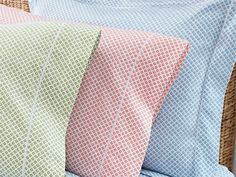 Red, Aqua, Blue, Linen, Coral or Green geometric sheets and duvet covers on soft Egyptian cotton sateen fabric. French Country Bedding, White Bedding, Duvet Sets, A 17, Luxury Bedding, Duvet Covers, Peacock, Linens