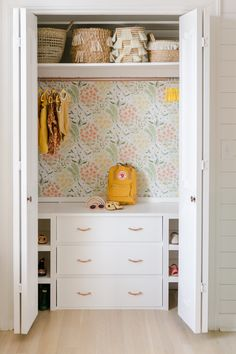 kid closet organization girl bedroom closet organization girl closest with floral wallpaper girl playroom design with storage in closet Tips for Reconfiguring a Closet - A Beautiful Mess girl closet decor with wallpaper Kid Closet, Closet Bedroom, Bedroom Decor, Dresser In Closet, Hall Closet, Playroom Closet, Girls Bedroom Storage, Closet Doors, Drawers In Closet