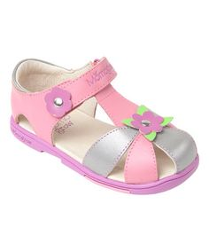 84cbfaba732d Pink Daisy Leather Sandal by MOMO Grow  zulilyfinds