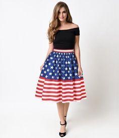 Women Longuette Dignified Fashion Skirt Usa Nation Flag Stylish Bzq005
