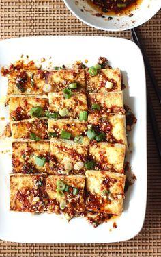 Pan Fried Tofu with Spicy Korean Sauce by SeasonWithSpice.com