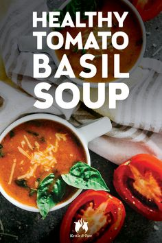 Nothing says home like a warm bowl of tomato soup topped with cheddar cheese on a cold winter day. This tomato basil recipe harkens back to those days while also satisfying your adult taste buds and offering fresher, healthier ingredients. Clean Eating Recipes, Healthy Eating, Healthy Food, Bone Broth Benefits, Bone Broth Soup, Cooking Tomatoes, Good Healthy Recipes, Healthy Dinners, Tomato Basil Soup