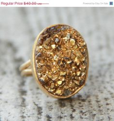 HOLIDAY SALE Metallic Gold Druzy Ring  Titanium Coated by OhKuol, $32.00