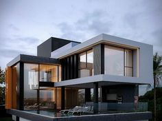 Houses by homify is part of Modern house exterior - Here you will find photos of interior design ideas Get inspired! Modern House Facades, Modern Architecture House, Modern House Plans, Modern Houses, Architecture Plan, Building Design, Building A House, Building Facade, Modern Villa Design