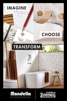 At Mondella, we'll help you plan, design and create your new bathroom. Available at Bunnings Warehouse Bathroom Interior Design, Bathroom Styling, Interior Design Living Room, Room Decor Bedroom, Home Bedroom, Diy Home Repair, Bathroom Collections, Bathroom Trends, Reno