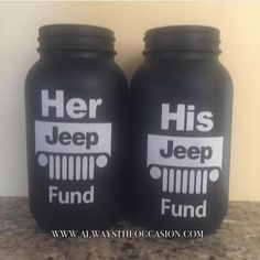 This listing is for Jeep Fund mason jars in various sizes! Does someone you know spend days at a time working on their jeep and always looking for parts? Then they would love a Jeep Fund jar! It can s
