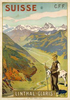 Schweiz Linthal (Glarus) Vintage Travel Poster - Poster Paper, Sticker or Canvas Print / Gift Idea / Christmas Gift Travel Ads, Travel Images, Travel And Tourism, Fürstentum Liechtenstein, Tourism Poster, Retro Poster, Poster Poster, Old Advertisements, Advertising