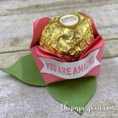 Rosebud treat holder tutorial up on the blog today! So easy to make this in different sizes! #paperpixie #stampinup #inkbigvip #ferrerorocher #imadethis #handmadeisbetter