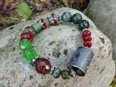 Anne Choi ...Pine Branch Bead Red Green by HarborGirlDesigns