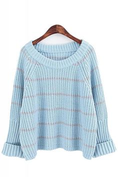 Striped Round Neck Long Sleeve Loose Sweater