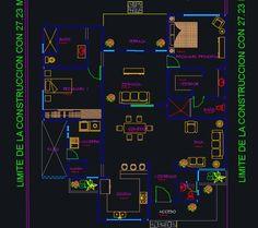 Plano de casa de 1 piso y 2 dormitorios (DWG)