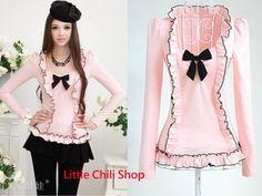 cute punk fashion for women images | Sweet Cute Japan Fashion Punk Rock Gothic Lolita Bow Top Blouse Shirt ...