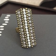 NYE HP Silpada Brass Ring Retired ring from the K&R collection. Brass, pearls and Swarovski crystals. Size 7 Silpada Jewelry Rings