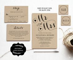 This wedding invitation set includes five templates: invitation card, rsvp card (2 versions), details card, monogram and date seal/tag templates.