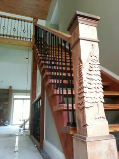 Pine tree carved newel post.CARVEDBYGPK. COM