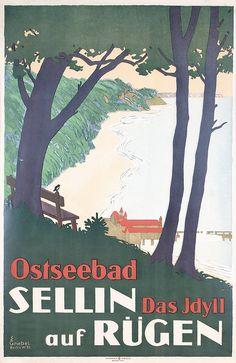 Original 1920s/30s German Coast Travel Poster