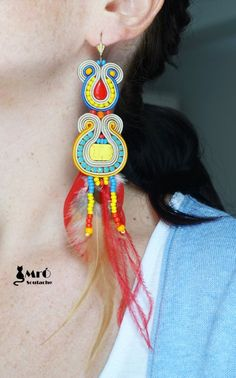 Qsambara Large and spectacular earrings soutache by MrOsOutache