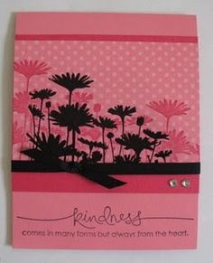 Upsy Daisy card embossed in black.  Love the tone on tone (su paper) then black embossed over--great idea!)