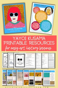This bundle of digital resources makes it easy to teach about the art of Yayoi Kusama. Kusama posters, coloring pages, and tools for assessment means you can be ready to teach about Kusama today! Art History Lessons, History For Kids, History Projects, Middle School Art Projects, Art School, High School, School Stuff, Yayoi Kusama, Elementary Art Lesson Plans