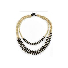 NOVICA Artisan Crafted Black Beige Wood Beaded Waterfall Necklace ($20) ❤ liked on Polyvore featuring jewelry, necklaces, waterfall, wood, novica jewelry, wooden beads jewellery, wooden bead jewelry, waterfall necklace and wood bead necklaces