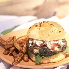 Greek Feta Burgers | MyRecipes.com  I would definitely never use lamb, but this would not be hard to sub something else in place of it.