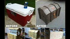 DIY Pirates Chest Cooler - Or just a plain old chest. Not everything has to be pirates. Pirate Halloween, Theme Halloween, Halloween Mural, Halloween Decorations, Pirate Decor, Pirate Theme, Diy Décoration, Diy Crafts, Fun Diy