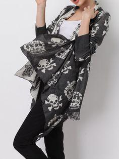 Gray Skeleton With Tassel Long Sleeve Knit Cardigan - Fashion Clothing, Latest Street Fashion At Abaday.com