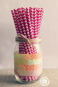 DIY - Washi taped mason jar (feat. Washi taped pencils)