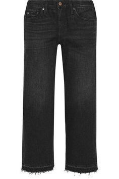 Simon Miller - W005 Bora Cropped Frayed Mid-rise Wide-leg Jeans - Black -