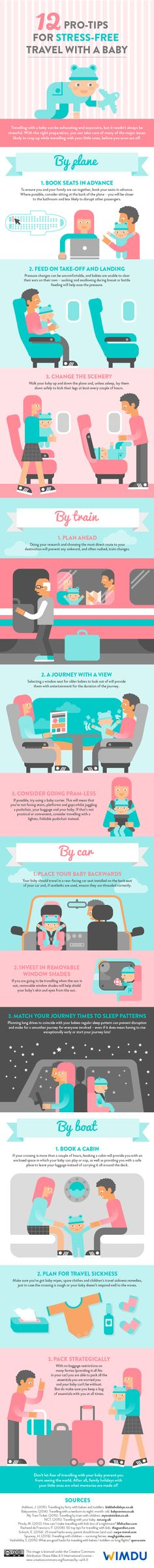 12 pro-tips for stress-free travel with a baby #infographic #Travel