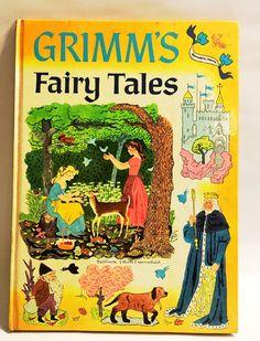 Grimm's Fairy Tales hardback book as told by Rose Dobbs. Vintage Children's stories. Stories kids mid century modern.