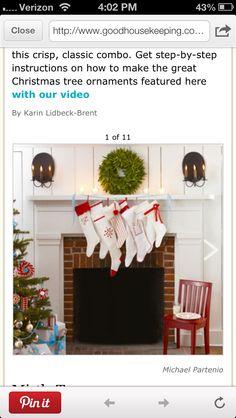 Love the ribbon to hang stockings
