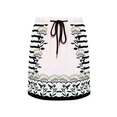 Markus Lupfer - Blooming Flower Stripe Silk Mini Skirt ($198) ❤ liked on Polyvore featuring skirts, mini skirts, mini skirt, striped mini skirt, short miniskirt, pastel pink skirt and long skirts