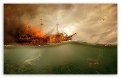 Pirate Ship Sailing HD desktop wallpaper : Widescreen : Fullscreen : Mobile : Dual Monitor