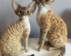 Personalized Pet Portrait / Shorthaired breed /Devon Rex/ Needle felted wool cat-doll