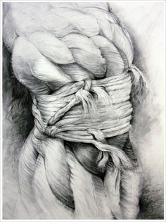 "Cinched, 2005    50"" X 38""  - vine charcoal drawing by artist Huguette Despault May Private Collection"
