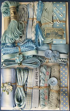 Crazy Quilt Embellishment Assortment - Blue Light