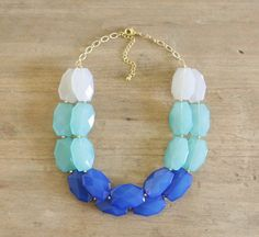 Ombre Blue and Aqua Double Strand Statement Necklace by ShopNestled on Etsy