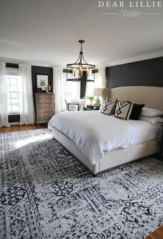 We finally found a large rug that worked in our master bedroom and are loving it! It's from and I love the… bedroom decor 40 Dreamy Master Bedroom Ideas and Designs — RenoGuide - Australian Renovation Ideas and Inspiration Master Bedroom Design, Dream Bedroom, Home Bedroom, Bedroom Designs, Bedroom Rugs, Dark Master Bedroom, Girls Bedroom, Modern Bedroom, Wall Decor Master Bedroom