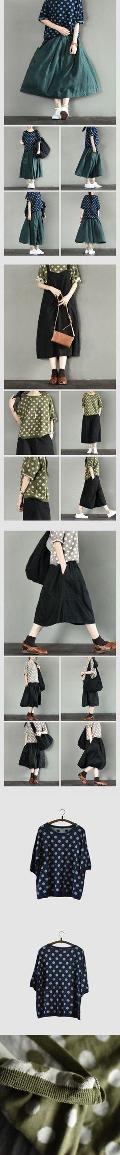 Three-colour Lovely Dot Summer T-shirt Knitwear Cotton Top  Blouse Women Clothes  by Fantasylinen