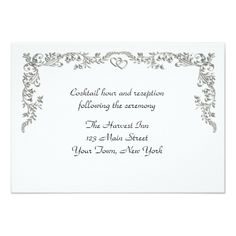 Shop Silver Floral Scroll Border Reception Card created by StarStock. Scroll Wedding Invitations, Wedding Invitation Design, Reception Card, Save The Date, Smudging, Paper Texture, Rsvp, Romantic, Floral