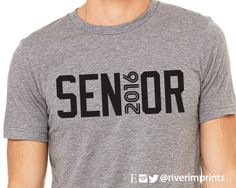 SENIOR 2016, short sleeve tee shirt, 2016 SENIOR graphic t-shirt