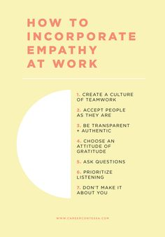 Empathy is a crucial soft skill in work and in everyday life. Here's how to implement a more empathetic workplace—no matter where you work. Career advice for women, Best careers for women, Career tips for women Leadership Development, Leadership Quotes, Leadership Strategies, Servant Leadership, Leadership Qualities, Leadership Coaching, Educational Leadership, Life Coaching, Professional Development