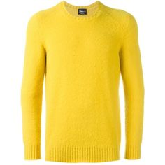 Drumohr crew neck jumper ($261) ❤ liked on Polyvore featuring men's fashion, men's clothing, men's sweaters, yellow, mens crewneck sweaters, mens woolen sweaters, men's wool crew neck sweaters, mens wool sweaters and mens yellow sweater