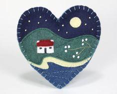 Embroidered felt winter landscape Christmas ornament #christmastreeornaments
