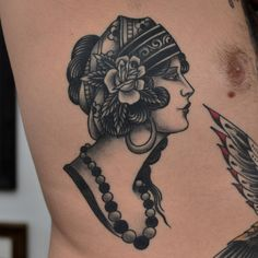 Blackwork Woman Tattoo by Javier Betancourt