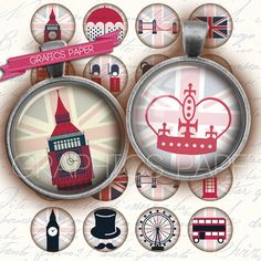 """London circle - digital collage sheet - td9 - 1.5"""", 1.25"""", 30mm, 1 inch circles - Jewelry Making, Bottle Caps, Arts and Crafts"""