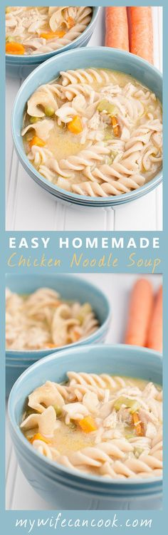 This Hearty and Easy Homemade Chicken Noodle Soup is the perfect meal to warm your soul. Find the full soup recipe and instructions here: http://www.mywifecancook.com/dinner/easy-homemade-chicken-noodle-soup/. We fill our Homemade Chicken Noodle Soup with
